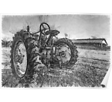 Day is Done Vintage Tractor Pencil Poster