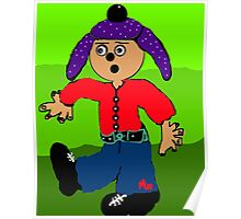 dancing boy with purple hat Poster