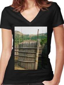a desolate Swaziland  landscape Women's Fitted V-Neck T-Shirt