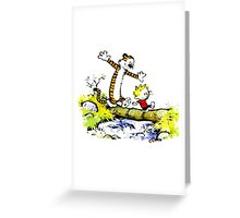 calvin and hobbes funny time Greeting Card