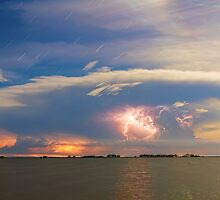 Lightning at Sunset with Star Trails by Bo Insogna