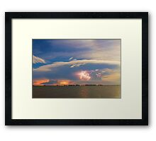 Lightning at Sunset with Star Trails Framed Print