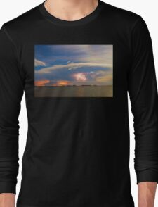 Lightning at Sunset with Star Trails Long Sleeve T-Shirt