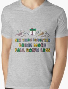 """Funny New Year's Resolution """"Drink More Fall Down Less"""" T-Shirt Mens V-Neck T-Shirt"""