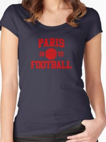 Paris Football Athletic College Style 2 Color Women's Fitted Scoop T-Shirt