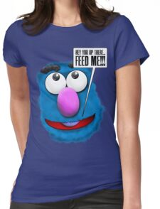 Funny Stomach Puppet Saying 'Feed Me' Womens Fitted T-Shirt