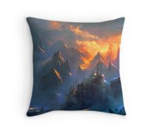 fantasy landcape - mountain village Throw Pillow