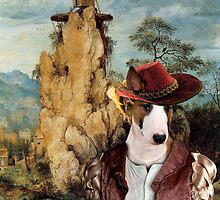 Bull Terrier Art - The strange windmill by NobilityDogs
