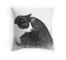 Cat in the Grass Throw Pillow