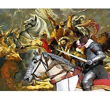 Bull Terrier Art - The final battle Photographic Print