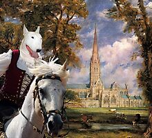 Bull Terrier Art - Salisbury Cathedral by NobilityDogs