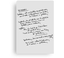 Yesterday Lyrics Canvas Print