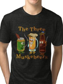 Funny Beer Pun Three Muskebeers Tri-blend T-Shirt