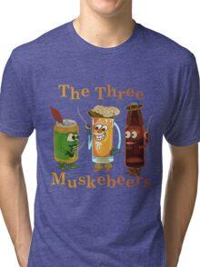 Funny Beer Pun Three Muskebeers Tri-blend T-Shirt