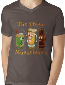 Funny Beer Pun Three Muskebeers Mens V-Neck T-Shirt