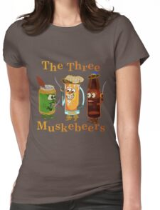 Funny Beer Pun Three Muskebeers Womens Fitted T-Shirt