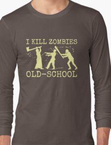 Funny Retro Old School Zombie Killer Hunter Long Sleeve T-Shirt