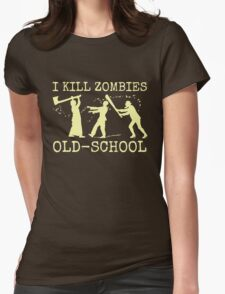 Funny Retro Old School Zombie Killer Hunter Womens Fitted T-Shirt