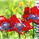 Impressionist Style Red Poppies - Poppy Fields - Remembrance - Flanders - Impressionism by traciv