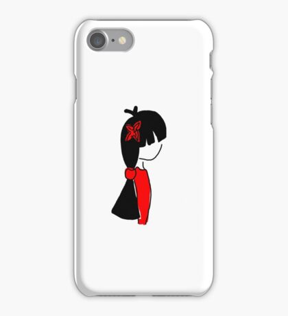 Black Haired Girl with Bow iPhone Case/Skin
