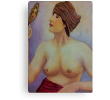Woman with Mirror Canvas Print