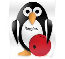 Penguin with bowling bow Poster