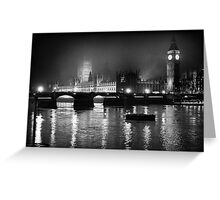 Westminster Palace, A Foggy Winter Night, London, UK Greeting Card