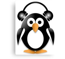Penguin with headphones Canvas Print