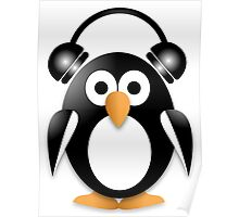 Penguin with headphones Poster
