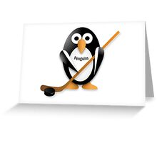 Penguin with hockey stick Greeting Card