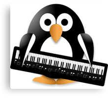 Penguin with piano keyboard Canvas Print