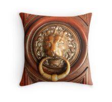 An Elegant Lion Door Knocker in Arles Throw Pillow