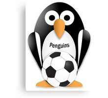 Penguin with soccer ball Canvas Print