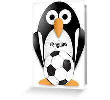 Penguin with soccer ball Greeting Card