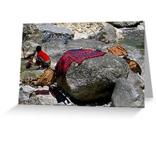 """Washing in the """"Milk River"""" in Nepal Greeting Card"""