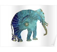 Elephant blue maps Poster