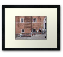 Gondoliers with Mobile Phones Framed Print
