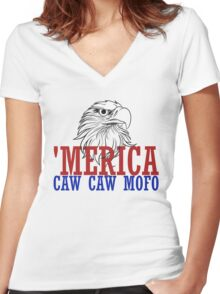 CAW CAW mofo 4th of july Women's Fitted V-Neck T-Shirt