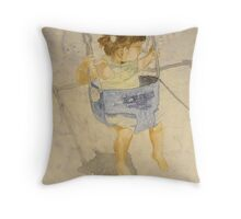 Swing : Charlotte, watercolor on yupo paper Throw Pillow
