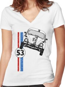 VW Herbie 53 Women's Fitted V-Neck T-Shirt