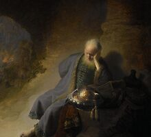 Painting - Jeremiah Lamenting the Destruction of Jerusalem, Rembrandt Harmensz. van Rijn, 1630  by wetdryvac
