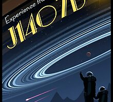 Space Travel Poster J1407b by Mark A. Garlick