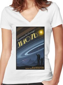 Space Travel Poster J1407b Women's Fitted V-Neck T-Shirt
