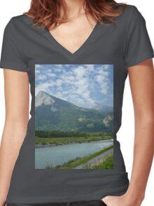 a stunning Liechtenstein landscape Women's Fitted V-Neck T-Shirt