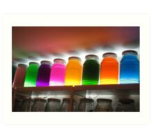 Colourful jars in a Moroccan pharmacy Art Print
