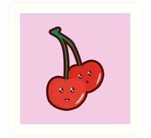 Kawaii Cherry Art Print