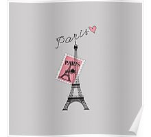 Let's Travel to Paris Eiffel Tower, Stamp, & Heart Poster
