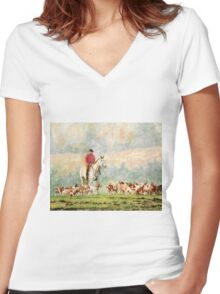 Fox Hunt Women's Fitted V-Neck T-Shirt