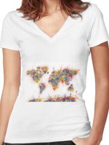 World Map splats Women's Fitted V-Neck T-Shirt
