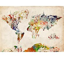 World Map landmarks 3 Photographic Print